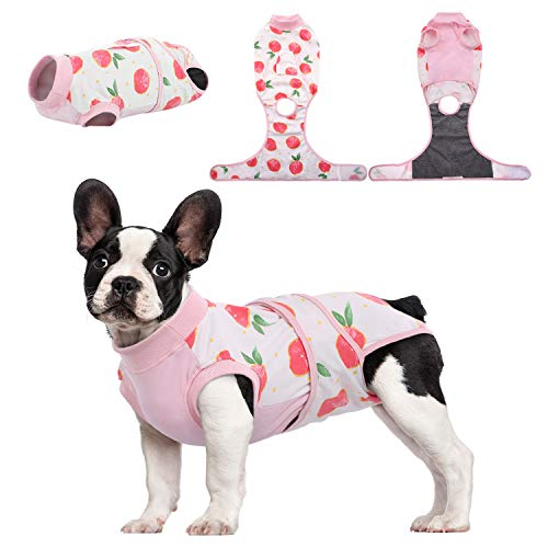 Kuoser Recovery Suit for Dogs Cats After Surgery, Professional Pet Recovery Shirt Dog Abdominal Wounds Bandages, Substitute E-Collar & Cone,Prevent Licking Dog Onesies Pet Surgery Recovery Suit XS