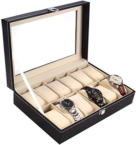 Watch Case, Ohuhu 12 Slot Watch Box PU Leather Watch Organizer Case, for Men and Women Birthday Presents Beige