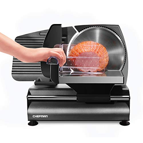 Chefman Die-Cast Electric Deli & Food Slicer Cuts Meat, Cheese, Bread, Fruit & Vegetables Adjustable Slice Thickness, Stainless Steel Blade, Safe Non-Slip Feet, For Home Use, Easy To Clean, Black