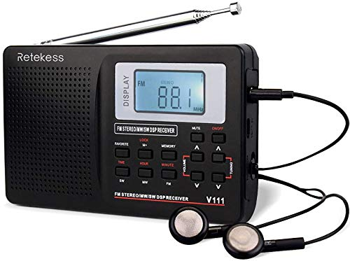 Retekess V111 Portable Shortwave Radios, Digital Radio AM FM with Presets, Powered by AA Battery, with FM Stereo and Clock, Ideal for Home (Black)