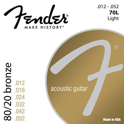 Fender 70L 0730070403 80/20 Bronze Ball End Acoustic Guitar Strings, 12-52