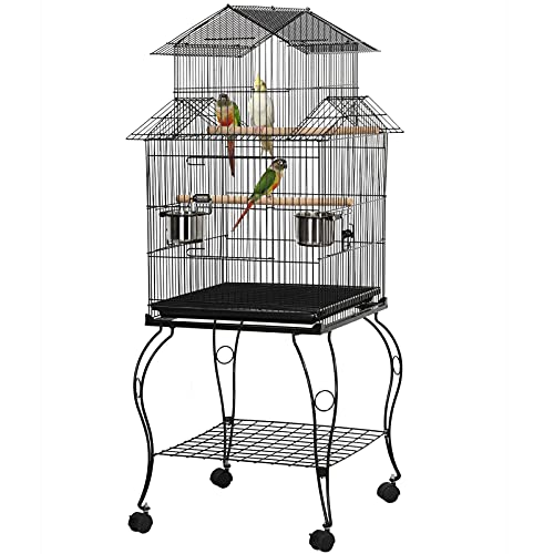 YAHEETECH 55-inch Rolling Standing Triple Roof Top Medium Parrot Cage for Mid-Sized Parrots Cockatiels Sun Parakeets Green Cheek Conures Caique Pet Bird Cage with Detachable Stand