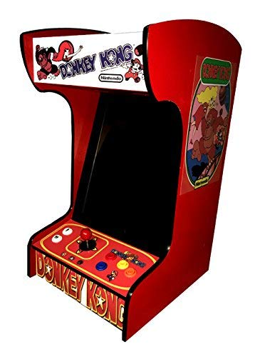 Doc and Pies Arcade Factory Classic Home Arcade Machine - Tabletop and Bartop - 412 Retro Games - Full Size LCD Screen, Buttons and Joystick - 2 Year Warranty (Red)