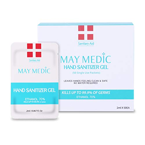 May Medic Hand Sanitizer Gel Packets 70% Ethanol, (50 single use packets / 2ml per packet)