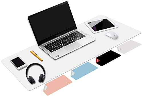 Desk Pad White, Laptop Desk Mat Waterproof Leather Desk Mat,Desk Organizers and Accessories(White, 31.5' x 15.7')