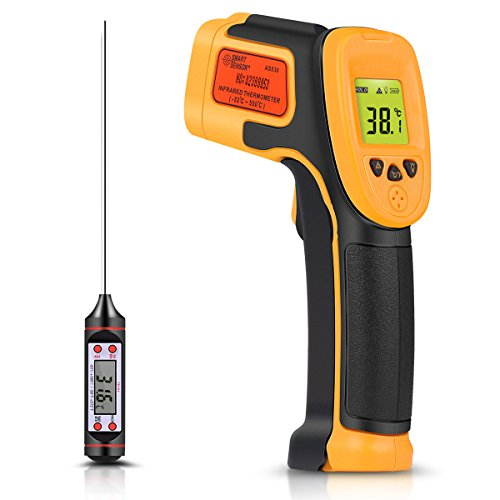 Infrared Thermometer, Digital IR Laser Thermometer Temperature Gun -26°F~1022°F (-32°C~550°C) Temperature Probe Cooking/Air/Refrigerator - Meat Thermometer Included -Non Body Thermometer