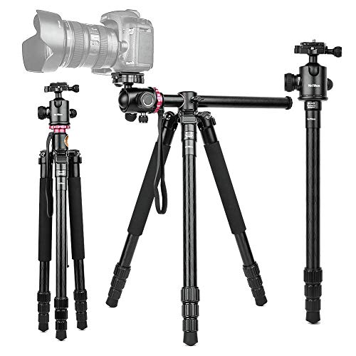 360°Horizontal Rotation Professional Travel Camera Tripod, Portable Projector Stand with 360°Panorama Ball Head,1/4' Quick Release Plate and Bubble Level for Canon Nikon Sony Olympus Fuji Projector D