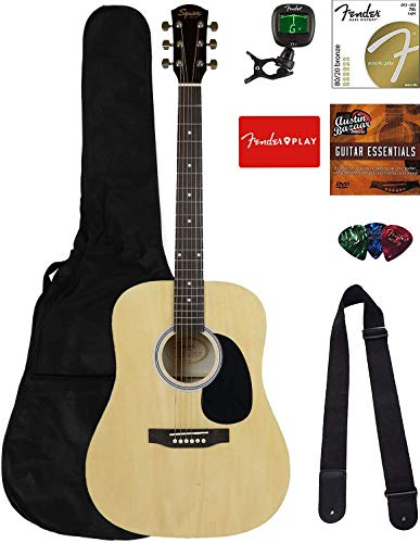 Fender Squier Dreadnought Acoustic Guitar - Natural Bundle with Gig Bag, Tuner, Strings, Strap, Picks, Fender Play Online Lessons, and Austin Bazaar Instructional DVD