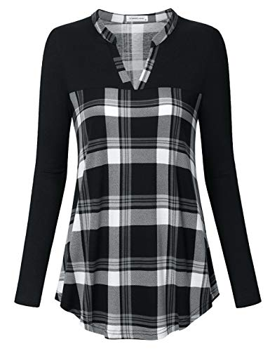 Liamluna Women's Henley Neck Stitching Color Plaid Tunic Top Shirt Black XL