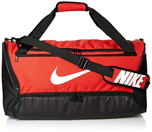 Nike Brasilia Training Medium Duffle Bag, Durable Nike Duffle Bag for Women & Men with Adjustable Strap, University Red/Black/White