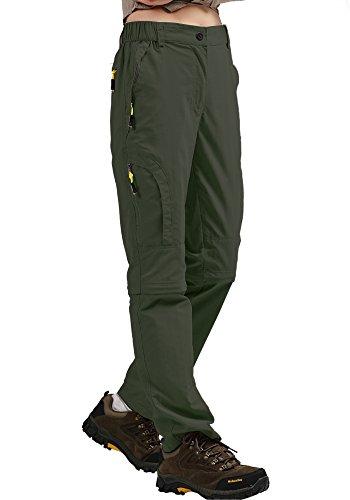 Women's Hiking Pants Quick Dry Convertible Stretch Lightweight Outdoor UPF 50 Fishing Safari Cargo Capri Zipper Pockets, 4409,Army Green,36