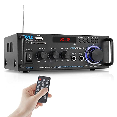 Pyle Wireless Bluetooth Stereo Power Amplifier - 200W Dual Channel Sound Audio Stereo Receiver w/RCA, USB, SD, MIC in, FM Radio, for Home Computer via RCA - PDA29BU.5