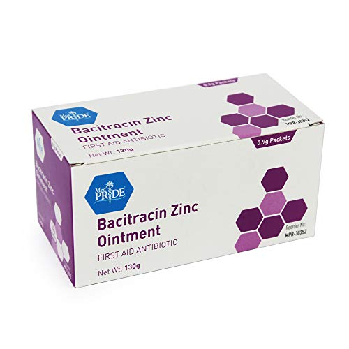 Medpride Antibiotic Ointment| Bacitracin Zinc Ointment| Essential Antibiotic First-Aid Supplies for Home| Relief for Chaffing, Diaper Rash, Dermatitis, Eczema, Itchy/Dry Skin| [0.9g] 144 Packets