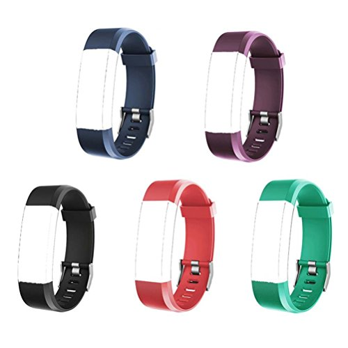 ID115 PLUS HR Replacement Bands - Adjustable Replacement Wristbands for Fitness Tracker ID115 Plus HR, 5 Pack (Black, Red, Blue, Green, Purple)