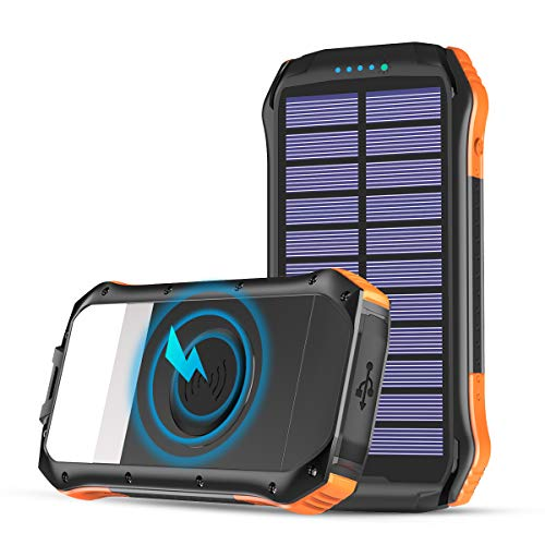 Solar Charger, Hiluckey Solar Power Bank 16000mAh Portable Wireless Charger Waterproof Outdoor External Battery Pack with Flashlight for iPhone, Samsung, iPad