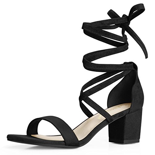 Allegra K Women Open Toe Lace Up Mid Chunky Heeled Sandals (Size US 9) Black-Faux Suede
