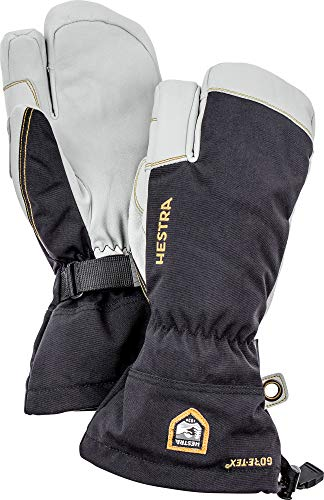 Hestra Army Leather Gore-TEX - Waterproof, Long-Cuffed 3-Finger Snow Glove for Skiing and Mountaineering - Black - 10