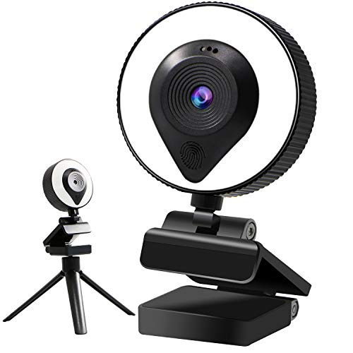 kuvanspok 2k Webcam Streaming with Ring Light 360 Webcam Microphone and Tripod Adjustable USB Streaming Webcam for Gaming Webcam YouTube Streaming with Beauty Retouch,Auto-Focus HD Webcam for Laptap