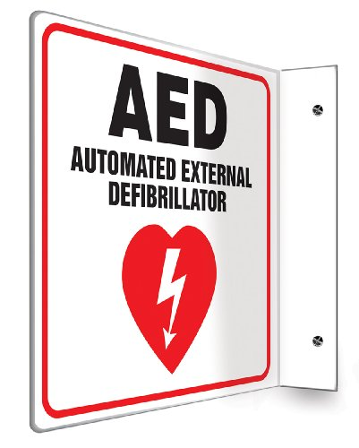 Accuform PSP972 Projection Sign 90D, Legend'AED AUTOMATED External DEFIBRILLATOR' with Graphic, 8' x 8' Panel, 0.10' Thick High-Impact Lumi-Glow Plastic, Pre-Drilled Mounting Holes, Red/Black on Glow