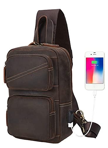 Leather Sling Backpack Bag for Men Fits 11' Tablet Small Crossbody Chest Shoulder Bag with USB Vintage Brown