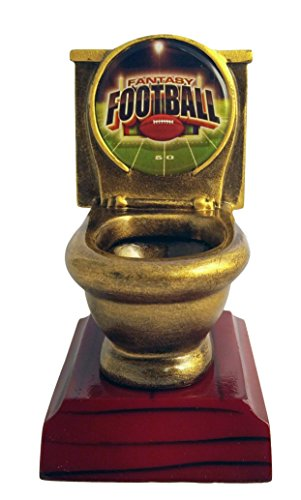 Decade Awards Fantasy Football Toilet Bowl Trophy - Gold - FFL Loser Gridiron Award - 5 Inch Tall - Engraved Plate on Request