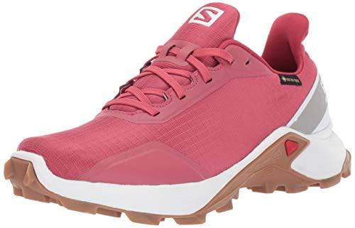 Salomon Women's ALPHACROSS GTX W Trail Running Shoe, Garnet Rose/White/GUM1A, 8