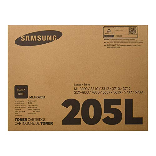 Samsung MLT-D205L Toner Cartridge Black, High Yield for ML-3312ND, ML-3712ND, 3712DW, SCX-4835FR, SCX-5639FR, 5739FW