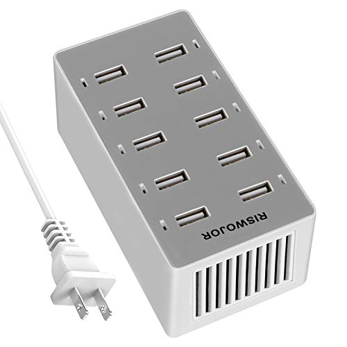 Multiple USB Charger Station,RISWOJOR 50W 10-Port USB Multiport Charger,USB Charging Hub with Smart Detect, Multiple USB Charging Station for Multiple Devices for iPhone, Galaxy, iPad and More
