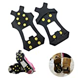 AGOOL Ice Grips Traction Cleats Ice Cleat Snow Grippers Non-Slip Over Shoe Rubber Spikes Crampons Anti Slip Crampons Slip-on Stretch Footwear for Men and Women