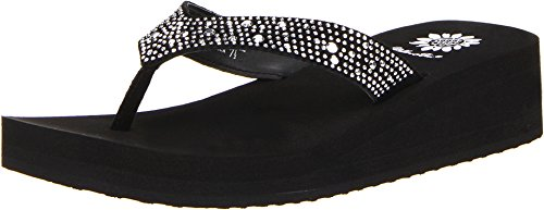 Yellow Box Women's Africa Wedge Flip Flop, Black, 7.5 M US