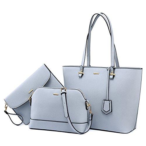 Handbags for Women Tote Bag Shoulder Bags Fashion Satchel Top Handle Structured Purse Set Designer Purses 3PCS PU Stand Gift Light Blue