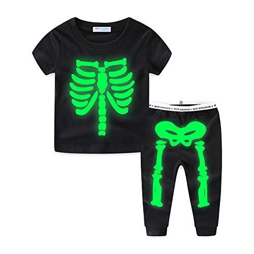 Mud Kingdom Glow in The Dark Skeleton Boys Pajamas Pants Sets Summer 5T Black