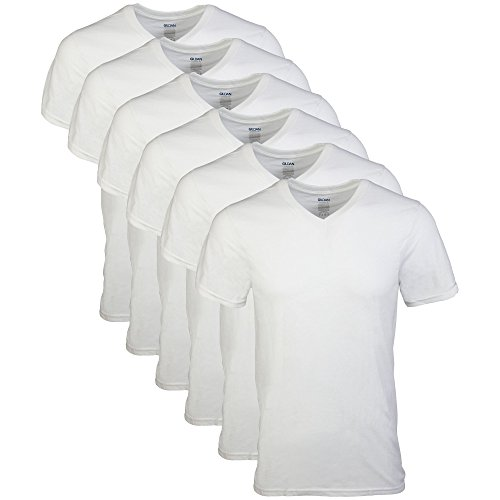 Gildan Men's V-Neck T-Shirts 6 Pack, White, Large