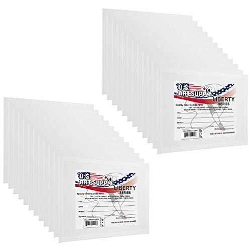 US Art Supply 9 X 12 inch Professional Artist Quality Acid Free Canvas Panel Boards for Painting 2-12-Packs (1 Full Case of 24 Single Canvas Board Panels)