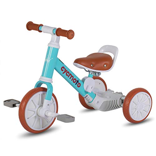 cycmoto 2 in 1 Balance Tricycle for 1 2 3 4 Years Kids   Toddler Tricycle with 3 EVA Wheels, Classic Trike for Child   Blue