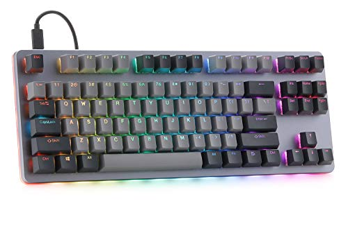 Drop CTRL Mechanical Keyboard — Tenkeyless TKL (87 Key) Gaming Keyboard, Hot-Swap Switches, Programmable Macros, RGB LED Backlighting, USB-C, Doubleshot PBT, Aluminum Frame (Halo True), Space Gray