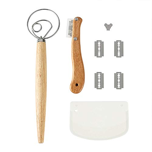INSHERE Bread Baking Accessories Set with Danish Dough Whisk, Bread Lame, Dough Scraper, 5 Sharp Blades and Protective Cover, Perfect Baking Tools and Gadgets for Making Bread, Cake, Pizza