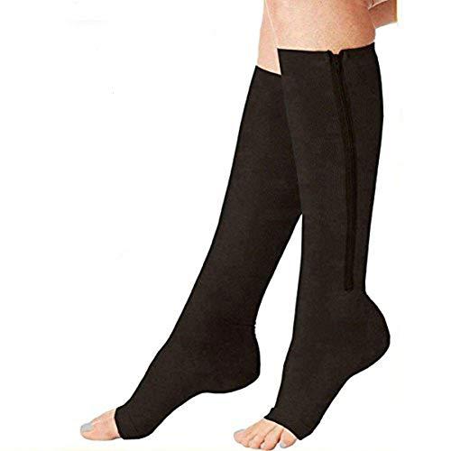 (2 Pairs) Compression Socks, New Compression Zip Sox Socks Stretchy Zipper Leg Support Unisex Open Toe Knee Stockings (Black, L/XL)