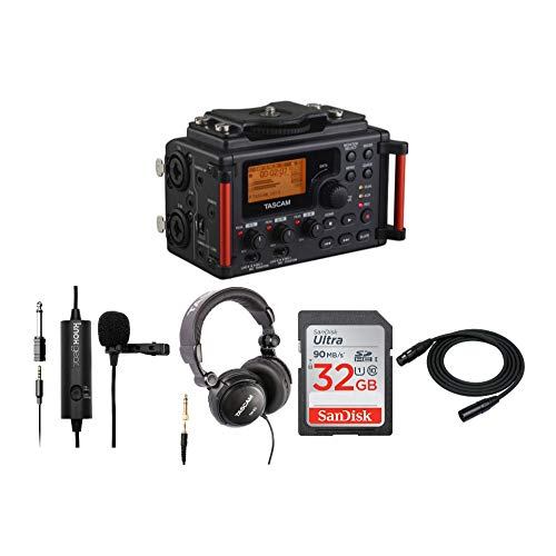 Tascam DR-60DMKII 4-Channel Portable Audio Recorder for DSLR Bundle with Knox Gear Clip-On Lavalier Microphone, Tascam TH-03 Closed-Back Headphones, 32GB SD Card, & 25ft XLR Cable (5 Items)