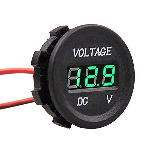 Etopars 12V 24V Waterproof Car Motorcycle Green LED Light Digital Display Voltmeter Volt Monitor Meter Socket