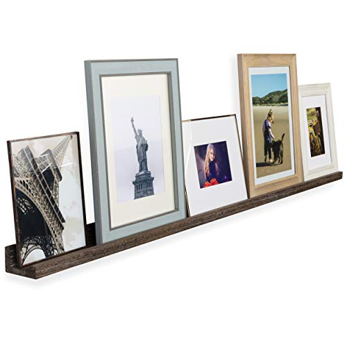 Rustic State Ted Wall Mount Extra Long Narrow Picture Ledge Shelf Display | 60 Inch Floating Wooden Storage Shelves Torched Brown