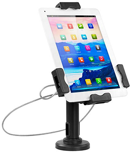 Mount-It! Secure Universal Tablet POS Kiosk with Wall Bracket Add-on | Locking Tablet Stand with Adjustable Clamp for iPad 7, iPad Mini, Samsung Galaxy Tab, Surface Go & 7.9'- 10.5' Tablets - MI-3784