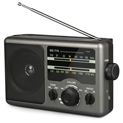AM FM Portable Radio Battery Operated Radio by 4X D Cell Batteries Or AC Power Transistor Radio with and Big Speaker, Standard Earphone Jack, High/Low Tone Mode, Large Knob