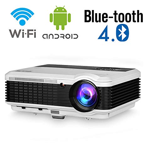 WiFi Bluetooth Movie Projector,Wireless Full HD 5000 Lumen Video LCD Outdoor 1080P Theater Android Projector 200' Display Screen Mirroring for Smart Phone Laptop DVD TV Stick X-Box Mac HDMI USB