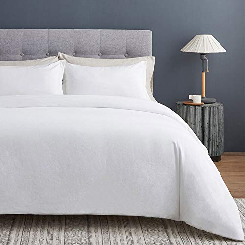 VEEYOO Cotton Duvet Cover Twin - 100% Washed Cotton Comforter Cover with Zipper Closure & Corner Ties, Soft Breathable 2 Pieces Duvet Covers Twin (68x90 inch), White