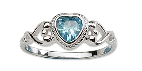 Sterling Silver March CZ Simulated Birthstone Baby Ring with Heart