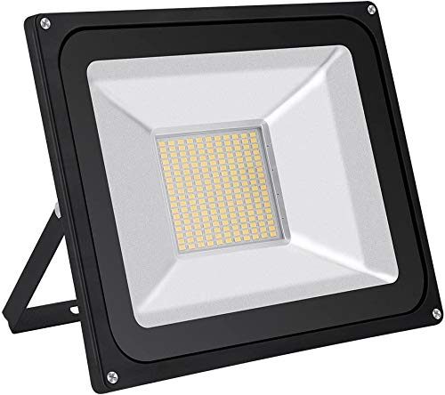 Blinwey 100W LED Flood Light, 8000LM Warm White (3000K), 500W Equivalent, IP65 Waterproof Super Bright Security Outdoor Floodlights for Garage, Garden, Lawn and Yard