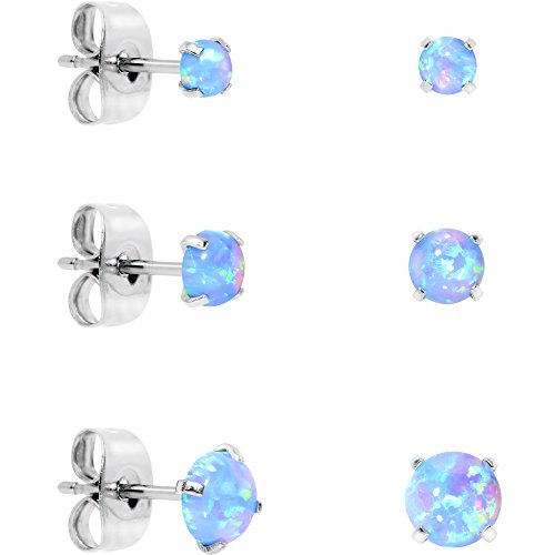 Body Candy Stainless Steel Synthetic Opal Post Stud Earring Pack of 3 (Blue)
