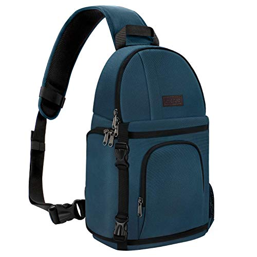 MOSISO Camera Sling Bag,DSLR/SLR/Mirrorless Case Water Repellent Shockproof Photography Camera Backpack with Tripod Holder & Removable Modular Inserts Compatible with Canon/Nikon/Sony/Fuji, Deep Teal