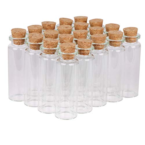 MaxMau Small Bottles with Corks,15 Milliliter 100 Packs Tiny Vials Mini Cork Stopper Clear Jars for DIY Art Crafts Projects Party Decoration Wedding Favors